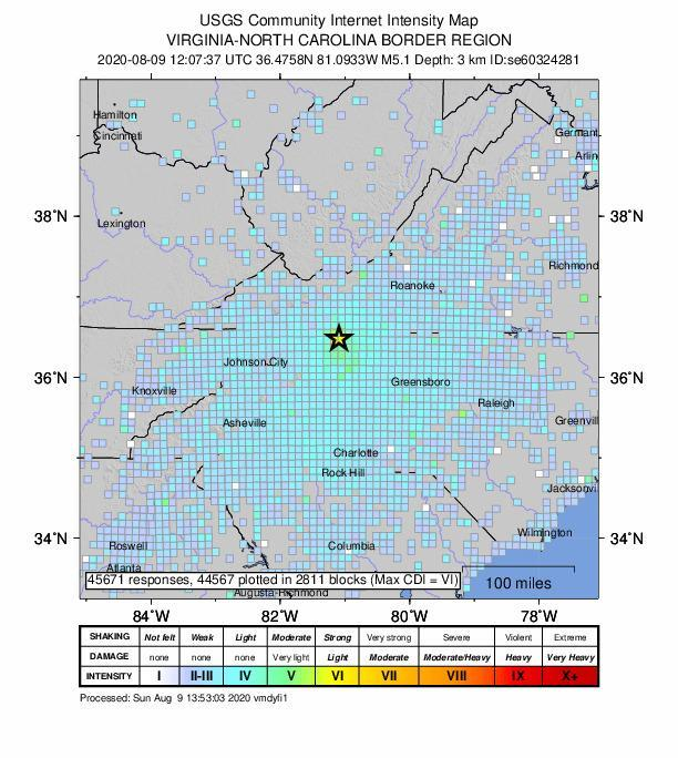 An intensity map shows the effects of an earthquake in North Carolina. (USGS)