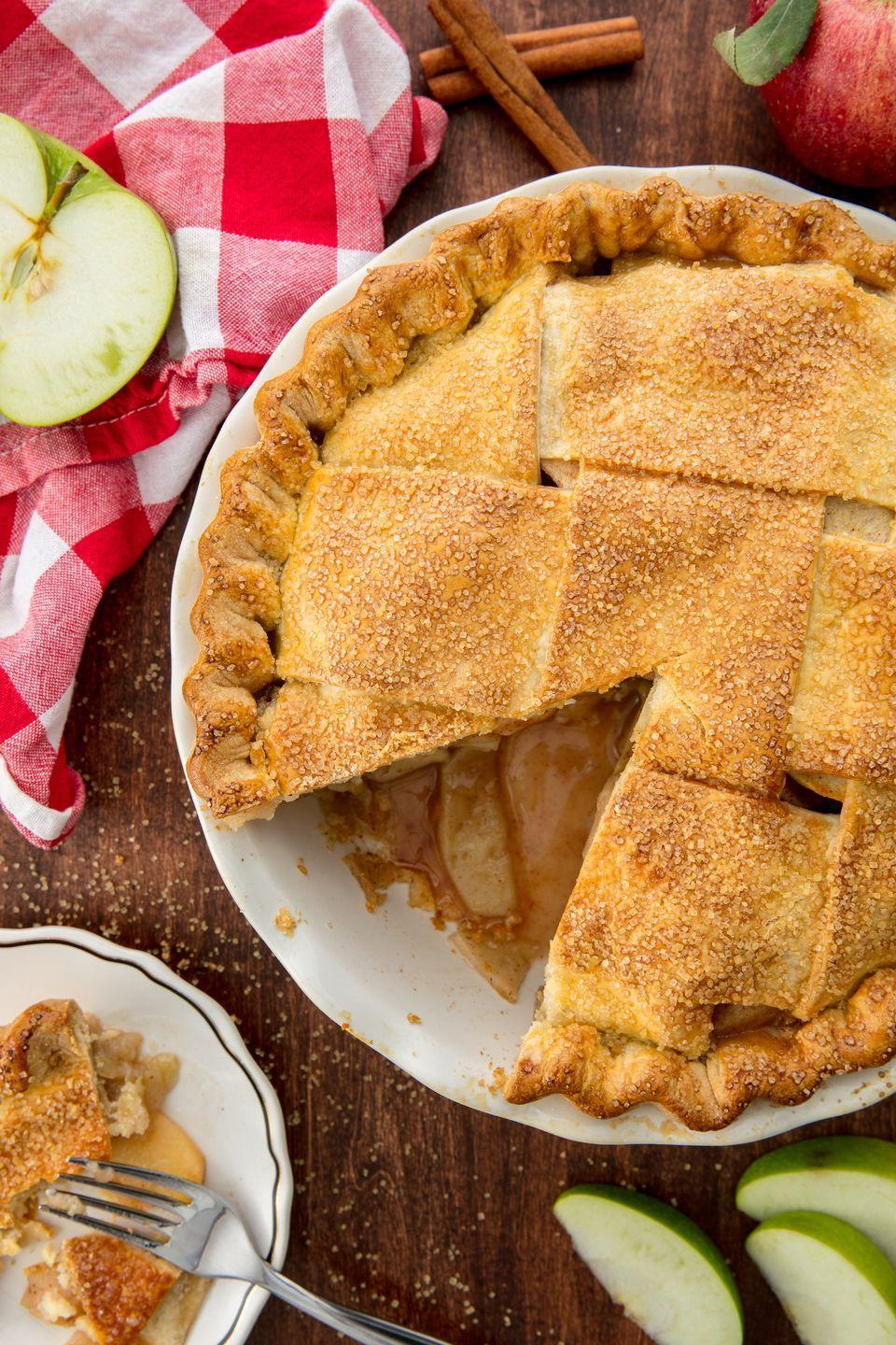 """<p>A homemade apple pie that will even impress your grandma.</p><p>Get the recipe from <a href=""""https://www.delish.com/cooking/recipe-ideas/recipes/a55693/best-homemade-apple-pie-recipe-from-scratch/"""" rel=""""nofollow noopener"""" target=""""_blank"""" data-ylk=""""slk:Delish"""" class=""""link rapid-noclick-resp"""">Delish</a>.</p>"""