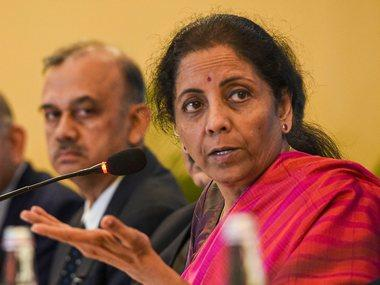 Union Minister for Finance and Corporate Affairs Nirmala Sitharaman addresses during a press meet in Kolkata. PTI