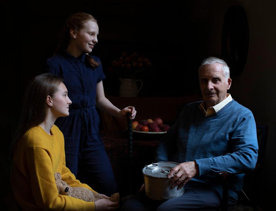 The Duchess of Cambridge's portrait of Steven Frank, aged 84, with his granddaughters Maggie and Trixie. Steven survived multiple concentration camps as a child. (Duchess of Cambridge / Imperial War Museum)