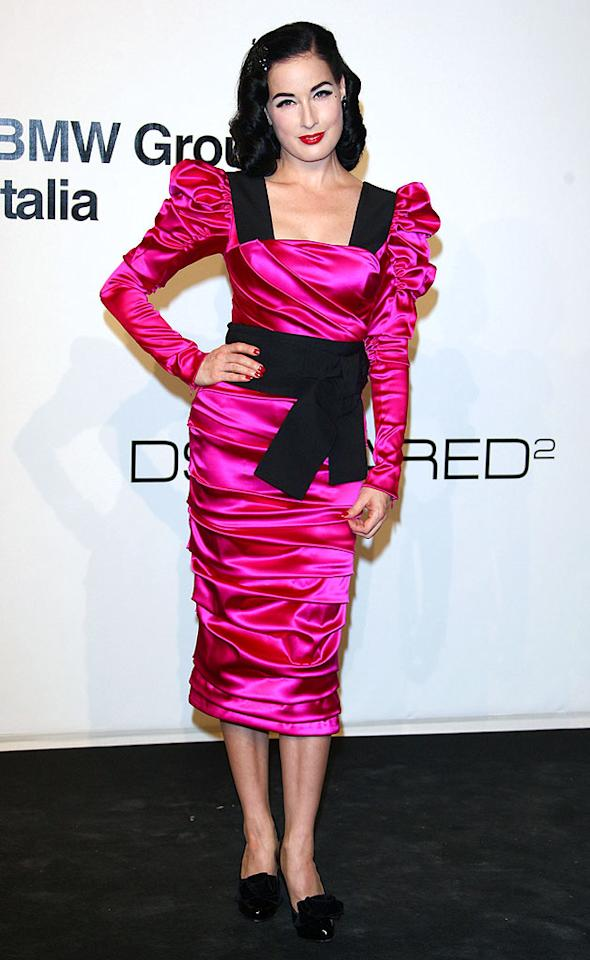 "Speaking of garish getups, Dita Von Teese nearly blinded us in this Dolce & Gabbana disaster. Vittorio Zunino Celotto/<a href=""http://www.gettyimages.com/"" target=""new"">GettyImages.com</a> - September 28, 2009"
