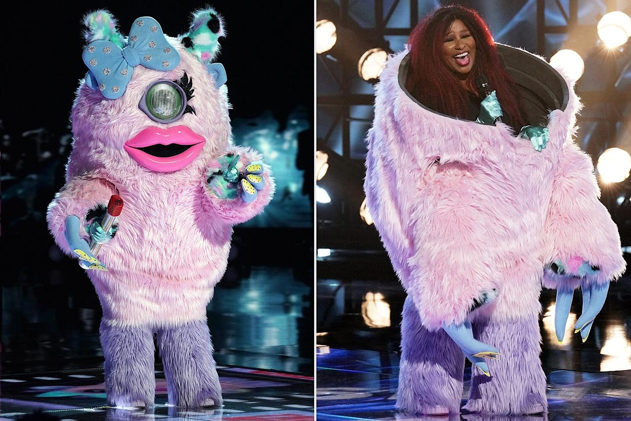 """<strong>Celebrity Behind the Mask: Chaka Khan</strong>  During this week's <a href=""""https://people.com/tv/masked-singer-shocker-miss-monster-chaka-khan-is-eliminated-as-3-finalists-move-forward/"""">Valentine's Day-themed episode</a>, judges Robin Thicke and Nicole Scherzinger guessed that Miss Monster, who sang """"You Don't Own Me"""" by Lesley Gore, was legendary singer Khan — and they were right!  """"I've just got to say, I have studied your voice so much. I'm so deeply inspired by you,"""" Scherzinger told the 10-time Grammy winner after her identity was revealed.  Khan joins<a href=""""https://people.com/tv/the-masked-singer-season-3-premiere-recap/"""">Lil Wayne (Robot)</a>and<a href=""""https://people.com/tv/the-masked-singer-season-3-the-llama-gets-eliminated-drew-carey/"""">Drew Carey (Llama)</a>in this season's eliminated contestant pool so far, meaning Kangaroo, Turtle and White Tiger will form the Super 9 with the top three singers from Groups B and C."""