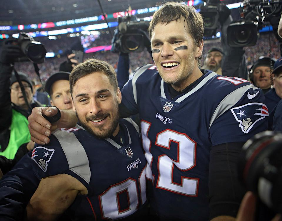 (012118 Foxboro, MA) New England Patriots quarterback Tom Brady and Danny Amendola celebrate after winning the AFC Championship game at Gillette Stadium on Sunday, January 21, 2018. Staff Photo by Nancy Lane (Photo by Nancy Lane/MediaNews Group/Boston Herald via Getty Images)