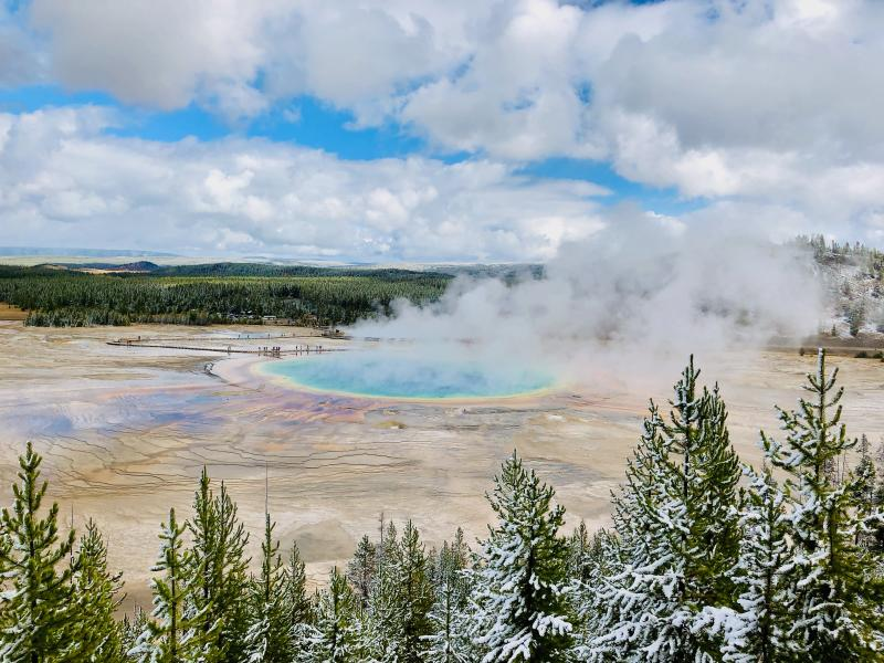 yellowstone hot spring Credit: JT Ray via Unsplash creative commons
