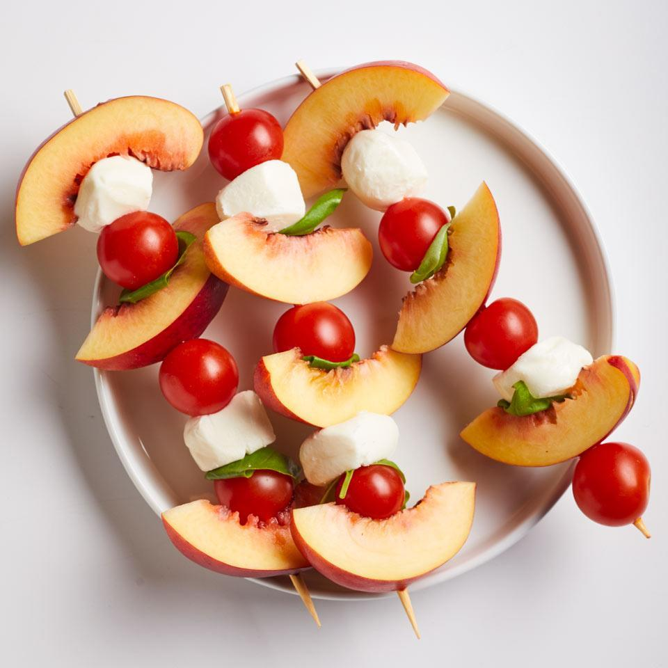 <p>Fresh peaches liven up a classic caprese salad in this super-fast snack. Make this recipe for one or make a bunch for a party appetizer.</p>