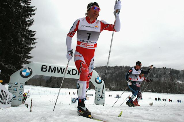 OBERSTDORF, GERMANY - JANUARY 02: Devon Kershaw of Canada competes during the men's classic sprint event for the FIS Cross Country World Cup Tour de Ski on January 2, 2011 in Oberstdorf, Germany. (Photo by Alexander Hassenstein/Getty Images For BMW)