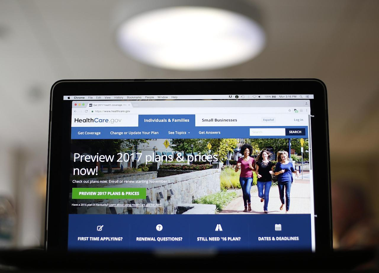 FILE - In this Oct. 24, 2016, file photo, the HealthCare.gov 2017 web site home page as seen in Washington. One by one, key health care industry groups are telling the incoming Republican administration and Congress that it's not a good idea to repeal the 2010 health care law without clear plans to address the consequences. (AP Photo/Pablo Martinez Monsivais, File)