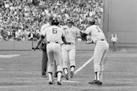 """<p><strong>October 2, 1978</strong>: The Yankees and Red Sox both finished the season 99-63, and the American League East came down to a one-game playoff. Boston held a 2-0 lead heading into the seventh inning when, with two men on, light-hitting Yankees shortstop Bucky Dent smacked a Mike Torrez pitch over Fenway's Green Monster. """"Baseball is very democratic,"""" says Puerzer. """"It allows for superstars to do a whole lot, but it also allows for guys like Bucky Dent to do something."""" The Yankees took a 3-2 lead, ultimately winning the game, 5-4. They went on to win the World Series over the Dodgers in six games.<br> </p>"""