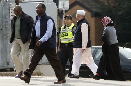 Worshippers make their way to a mosque in Falls Church, Virginia
