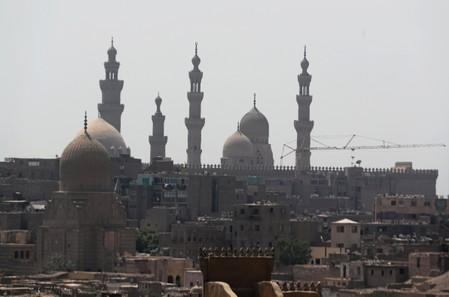 General view of buildings and historic mosques in an old neighbourhood of Cairo