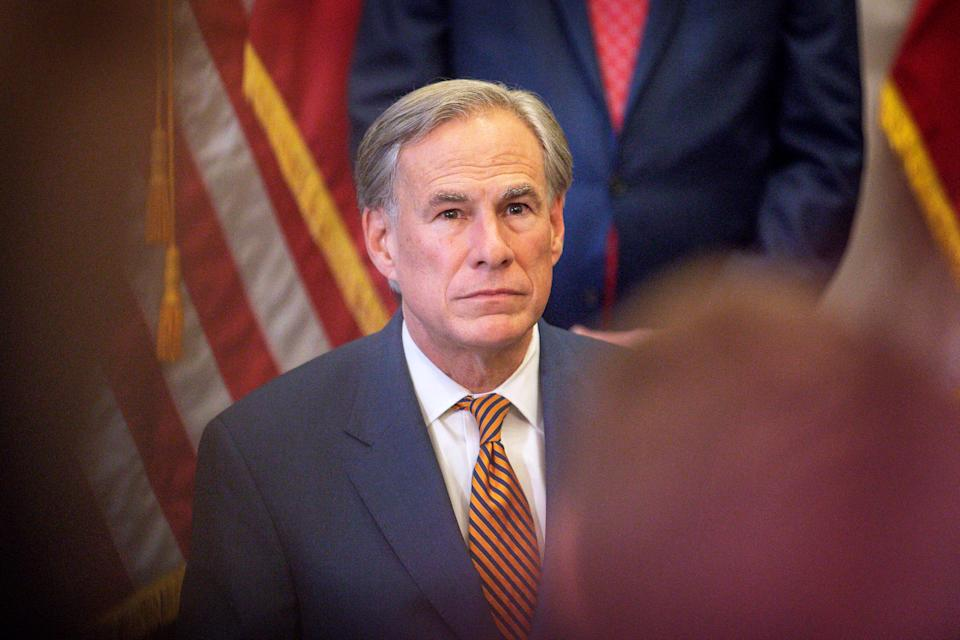 AUSTIN, TX - JUNE 08: Texas Governor Greg Abbott attends a press conference where he signed Senate Bills 2 and 3 at the Capitol on June 8, 2021 in Austin, Texas. Governor Abbott signed the bills into law to reform the Electric Reliability Council of Texas and weatherize and improve the reliability of the state's power grid. The bill signing comes months after a disastrous February winter storm that caused widespread power outages and left dozens of Texans dead. (Photo by Montinique Monroe/Getty Images)