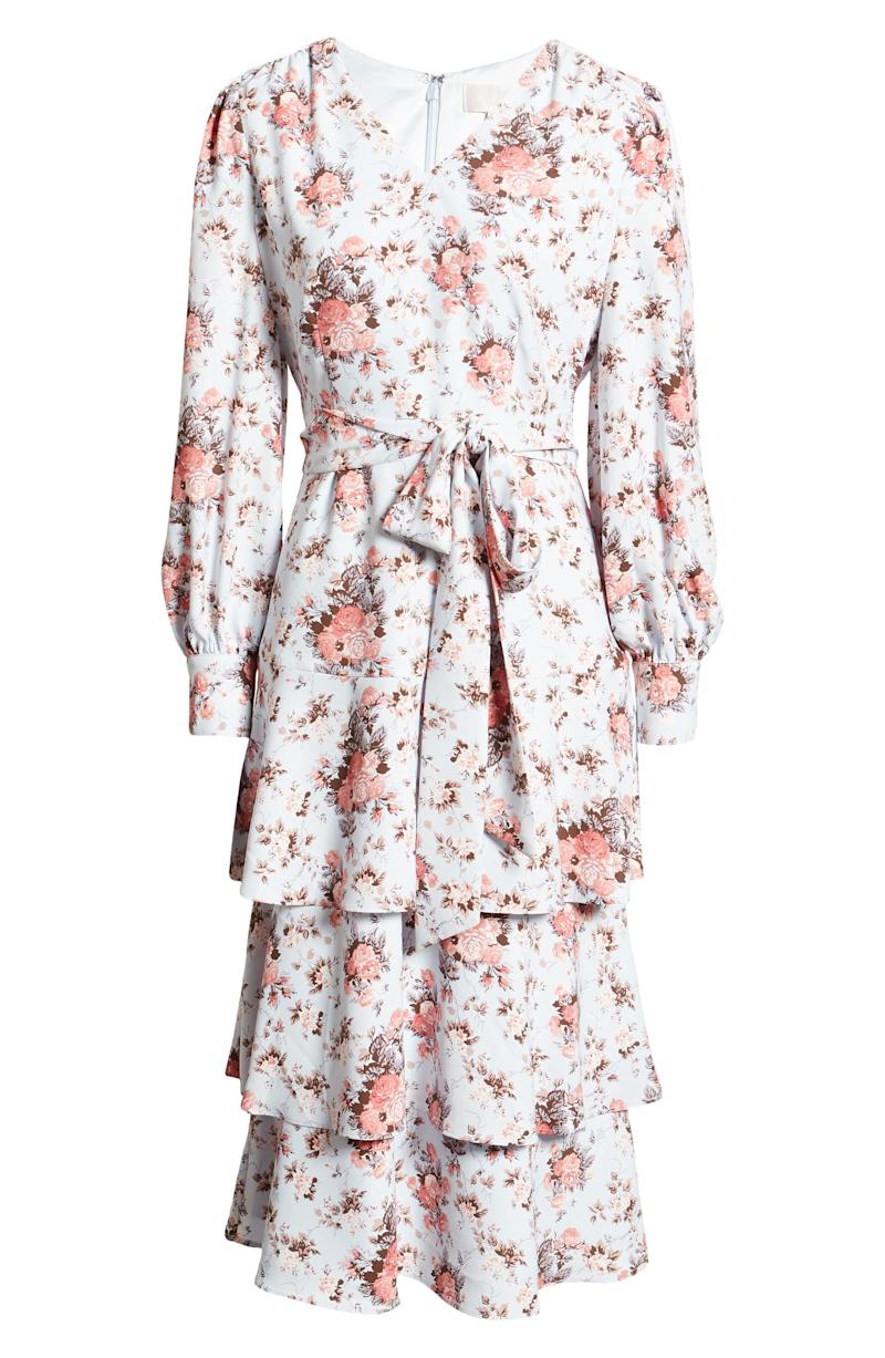 RACHEL PARCELL Long Sleeve Tiered Floral Dress