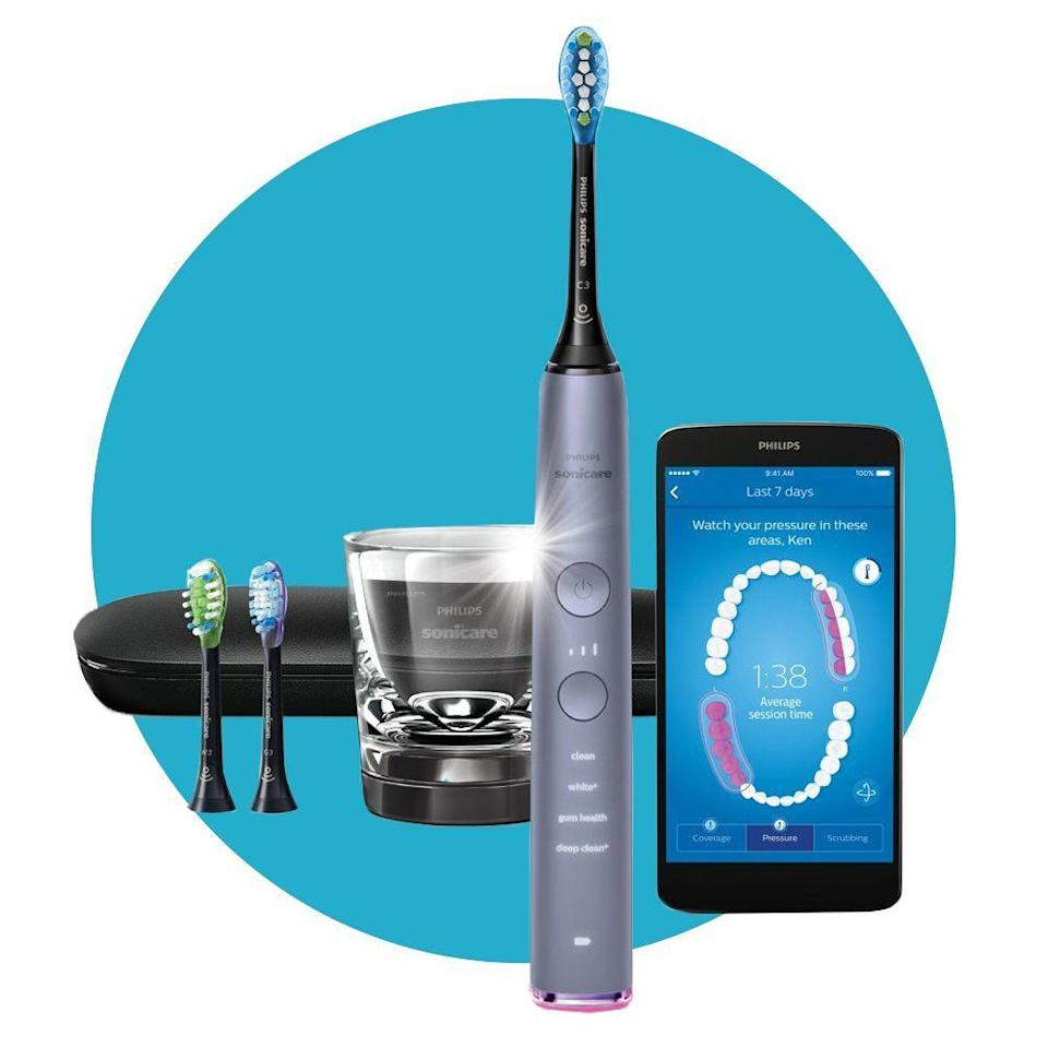 """<p><strong>Philips Sonicare</strong></p><p>amazon.com</p><p><strong>$189.99</strong></p><p><a href=""""https://www.amazon.com/dp/B07C374H9K?tag=syn-yahoo-20&ascsubtag=%5Bartid%7C2089.g.34449251%5Bsrc%7Cyahoo-us"""" rel=""""nofollow noopener"""" target=""""_blank"""" data-ylk=""""slk:Shop Now"""" class=""""link rapid-noclick-resp"""">Shop Now</a></p><p>When it comes to dental care, we don't mess around — and neither does this toothbrush. It's timed to help you brush each section of your mouth for the appropriate amount of time, so you can't cheat or cut your brushing session short.</p><p>This <a href=""""https://www.bestproducts.com/beauty/a33460066/philips-sonicare-diamondclean-smart-toothbrush-review/"""" rel=""""nofollow noopener"""" target=""""_blank"""" data-ylk=""""slk:smart toothbrush"""" class=""""link rapid-noclick-resp"""">smart toothbrush</a> can also be linked up to an app via Bluetooth connection to monitor your brushing habits, check the amount of pressure you're putting on your teeth when you're brushing, and so much more. </p>"""