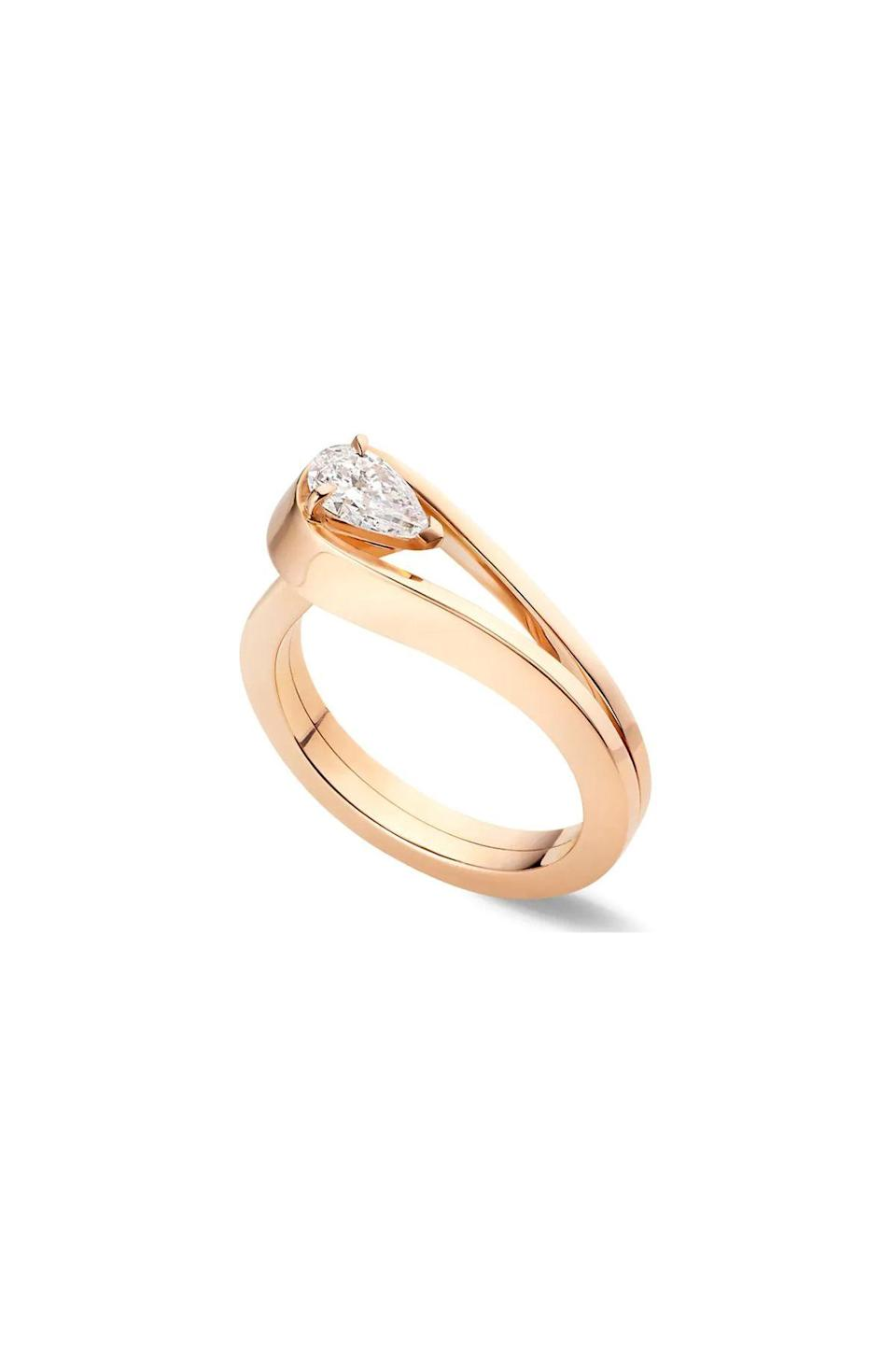 """<p><strong>Repossi</strong></p><p>saksfifthavenue.com</p><p><strong>$7150.00</strong></p><p><a href=""""https://go.redirectingat.com?id=74968X1596630&url=https%3A%2F%2Fwww.saksfifthavenue.com%2Fproduct%2Frepossi-serti-invers%25C3%25A9-18k-rose-gold--amp--diamond-ring-0400012990527.html%3Fsite_refer%3DCSE_GGLPLA%253AWomens_Jewelry%253ARepossi%26country%3DUS%26currency%3DUSD%26CSE_CID%3DG_Saks_PLA_US_Local_Accessories%253AAll%2BJewelry%2B%2526%2BAccessories%26gclid%3DCjwKCAjwhMmEBhBwEiwAXwFoEaR2znpSNbD3Sn5IWgavWDJhAvxt7EeJyK3eHGGAY_c0FqqZVV37ahoCnowQAvD_BwE%26gclsrc%3Daw.ds&sref=https%3A%2F%2Fwww.townandcountrymag.com%2Fstyle%2Fjewelry-and-watches%2Fg36344130%2Funique-engagement-rings-online%2F"""" rel=""""nofollow noopener"""" target=""""_blank"""" data-ylk=""""slk:Shop Now"""" class=""""link rapid-noclick-resp"""">Shop Now</a></p><p>The swooping setting of this rose gold diamond solitaire is a twist on the classic style and feels special without being a total show-off. </p>"""