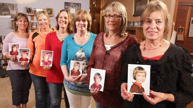 The six Parker sisters who started the red plaid dress family tradition. (L-R) Sarah Brandt, Corinne Sjoberg, Liza Parker, Lynelle Parker, Lana Sheforgen, Diana Orr. (Photo: Chad Nelson, KARE 11)