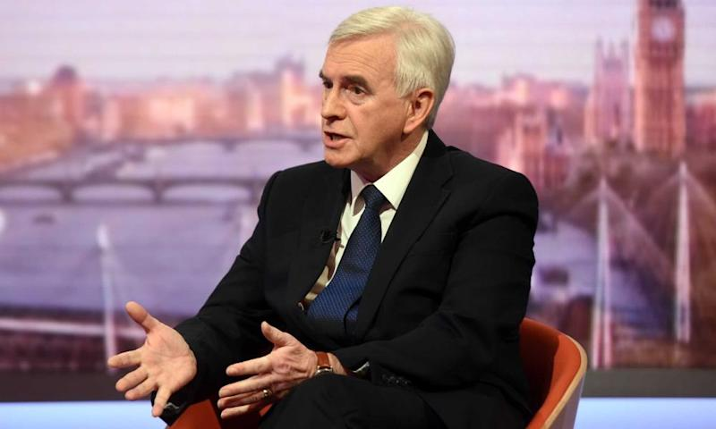 John McDonnell appearing on The Andrew Marr Show.