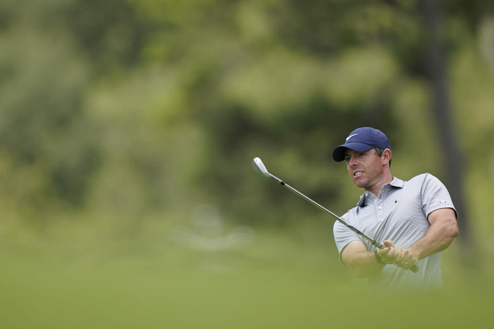 Rory McIlroy hits on the first fairway during the first round of the Tour Championship golf tournament Thursday, Sept. 2, 2021, at East Lake Golf Club in Atlanta. (AP Photo/Brynn Anderson)