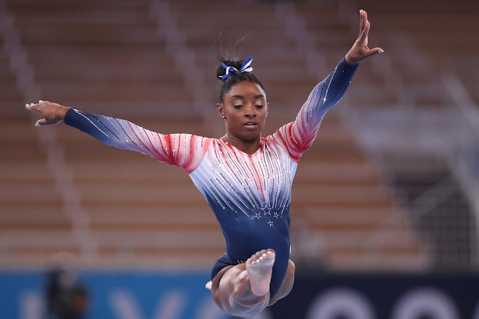 Simone Biles won the seventh, and almost certainly last, medal of her Olympic career with a bronze on balance beam Tuesday. (Photo by Elsa/Getty Images)