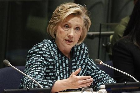 Former U.S. Secretary of State Clinton speaks during an International Women's Day event in New York