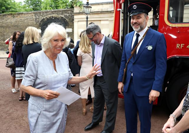 David Walliams during a tea party hosted by the Duchess of Cornwall to celebrate the Duchess's Bookshelves project in 2017. (PA)