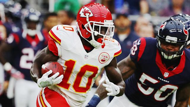 Is Tyreek Hill playing Thursday night? The Chiefs' top receiver was limited last game by a foot injury and is considered questionable for Thursday Night Football against the Chargers. Get the latest active/inactive updates.