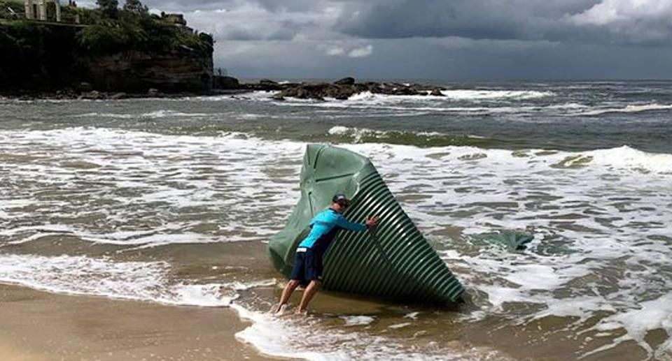 a water tank washed up on coogee beach Friday