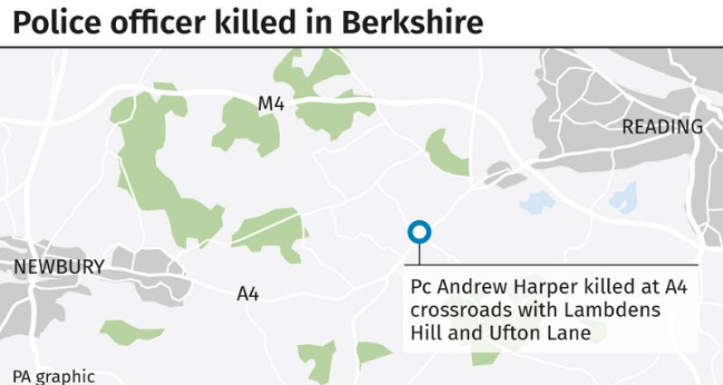 A map showing where Pc Harper was killed while attending a suspected burglary on Thursday. (PA)