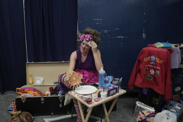 """<p>Beth Walters, takes a break in Clown Alley between acts during a show with the Ringling Bros. Barnum and Bailey Circus red unit, Friday, May 5, 2017, in Providence, R.I. """"The Greatest Show on Earth"""" is about to put on its last show on earth. For the performers who travel with the Ringling Bros. and Barnum & Bailey Circus, its demise means the end of a unique way of life for hundreds of performers and crew members. (Photo: Julie Jacobson/AP) </p>"""