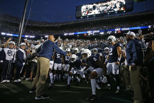 "STATE COLLEGE, PA – SEPTEMBER 16: James Franklin and the Penn State Nittany Lions prepare to take the field against the <a class=""link rapid-noclick-resp"" href=""/ncaab/teams/gag/"" data-ylk=""slk:Georgia State Panthers"">Georgia State Panthers</a> at Beaver Stadium on September 16, 2017 in State College, Pennsylvania. (Photo by Justin K. Aller/Getty Images)"
