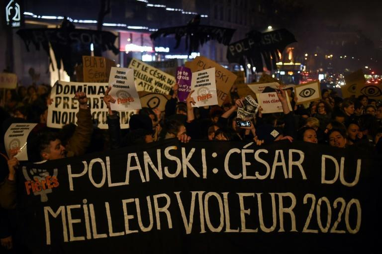 Protesters chanting 'Lock up Polanski!' tried to storm the theatre where the ceremony was being held