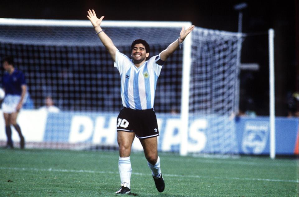 Argentina's Diego Maradona celebrates the equalizing goal  (Photo by Peter Robinson/EMPICS via Getty Images)