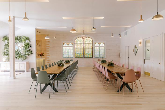 "<div class=""caption""> The wooden tables are custom-made and the chairs (in both aloe green and dusty pink) are from <a href=""https://www.article.com/product/11627/svelti-dusty-pink-dining-chair"" rel=""nofollow noopener"" target=""_blank"" data-ylk=""slk:Article"" class=""link rapid-noclick-resp"">Article</a>. </div>"