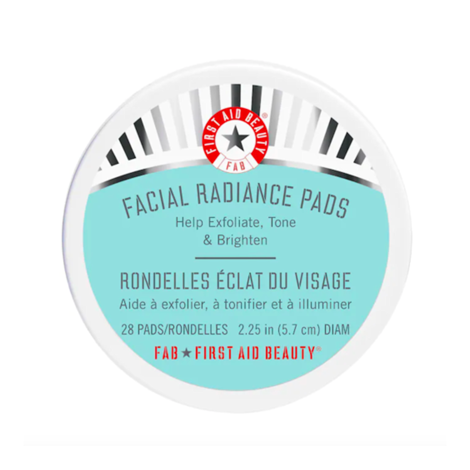 """In addition to <a href=""""https://www.allure.com/review/first-aid-beauty-facial-radiance-pads?mbid=synd_yahoo_rss"""" rel=""""nofollow noopener"""" target=""""_blank"""" data-ylk=""""slk:First Aid Beauty's Facial Radiance Pads"""" class=""""link rapid-noclick-resp"""">First Aid Beauty's Facial Radiance Pads</a> being free of irritation-inducing alcohol, artificial fragrances, parabens, and phthalates — the pads are soaked in a combination of lactic and glycolic acids. """"These exfoliating peel pads leave the skin looking and feeling soft and smooth,"""" says Garshick."""