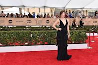<p>Kathryn Hahn, who's at the SAG Awards representing Amazon's <i>Transparent</i>, worked the red carpet in black Armani gown with tiered ruffles. <i>Photo: Getty Images</i></p>