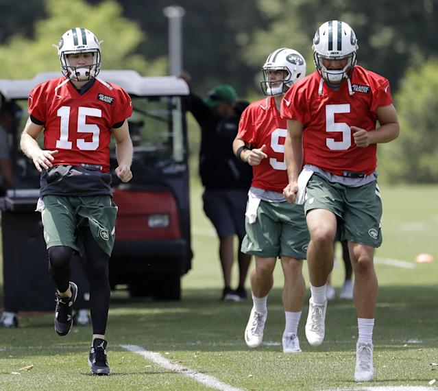 Anyone want to start? The Jets will decide between (L-R) Josh McCown, Bryce Petty and Christian Hackenberg. (AP)
