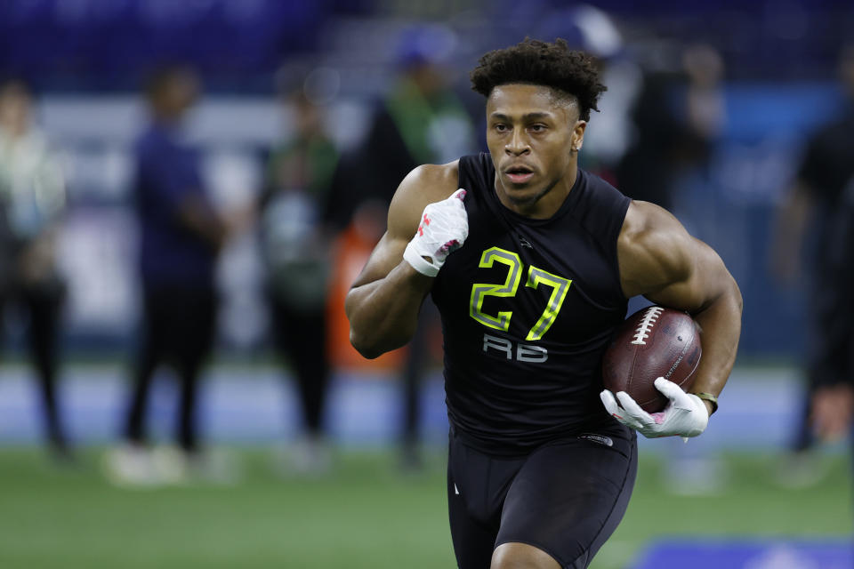 Wisconsin RB Jonathan Taylor feels like a fit with the Miami Dolphins. (Photo by Joe Robbins/Getty Images)