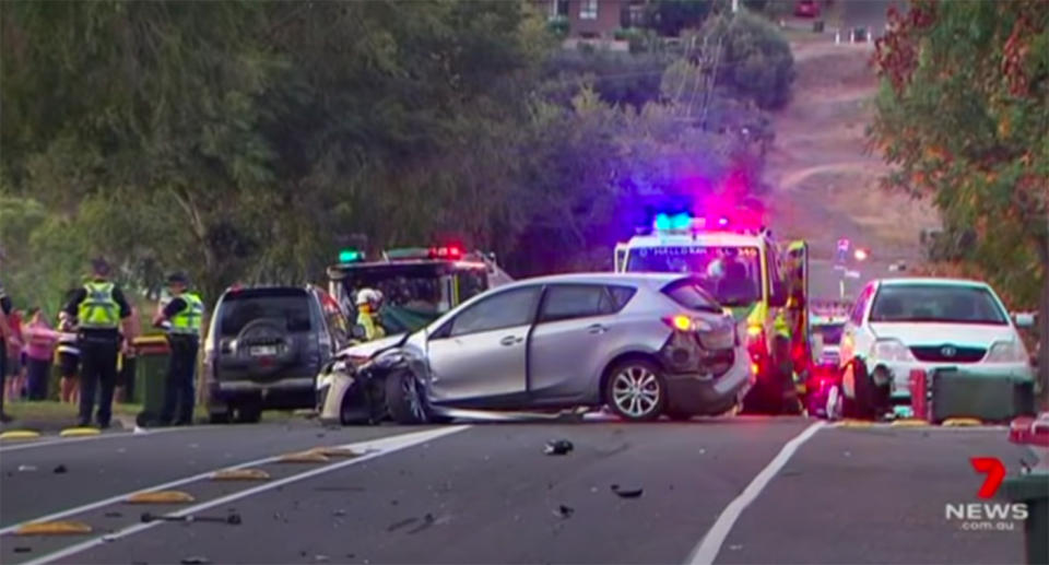 A damaged car sits across two lanes of traffic after colliding with a vehicle and then striking a pedestrian in Sheidow Park, South Australia.
