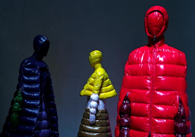 FILE PHOTO: Creations from the Moncler's Autumn/Winter 2018 women's collection are seen during Milan Fashion Week in Milan, Italy February 20, 2018. REUTERS/Tony Gentile/File Photo