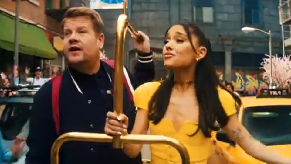 Screengrab of James Corden and Ariana Grande in 'The Late Late Show' skit. (CBS)