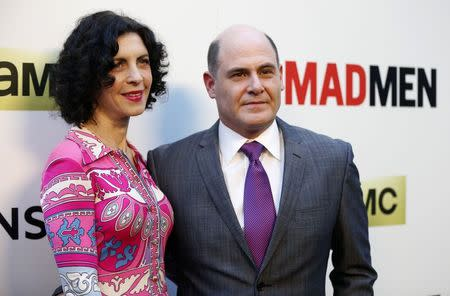 """File photo of Weiner and his wife Linda Brettler pose at the premiere for the seventh season of the television series """"Mad Men"""" in Los Angeles"""
