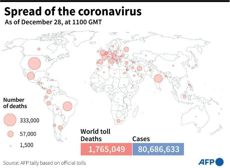 World map showing the number of Covid-19 deaths by country, as of December 28 at 1100 GMT