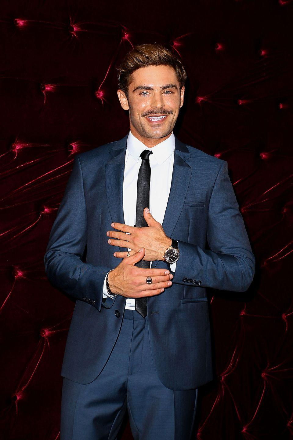 <p>Although not always seen with facial hair, a mustached Efron looks like he stepped out of an old Hollywood film. </p>