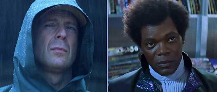 Bruce Willis in a hood and Samuel L. Jackson in a flared collar look stoic