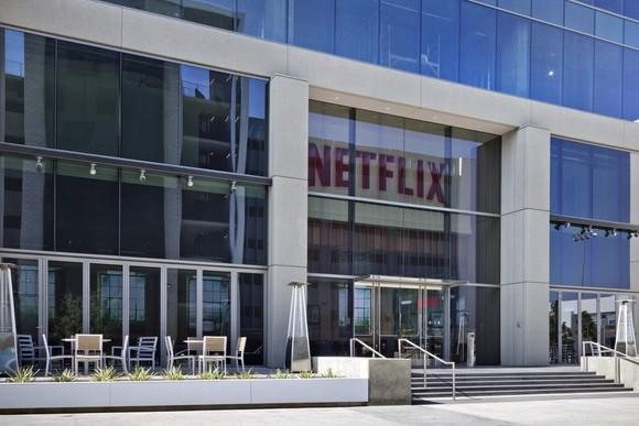 The front of Netflix's Hollywood office is covered in windows and features a