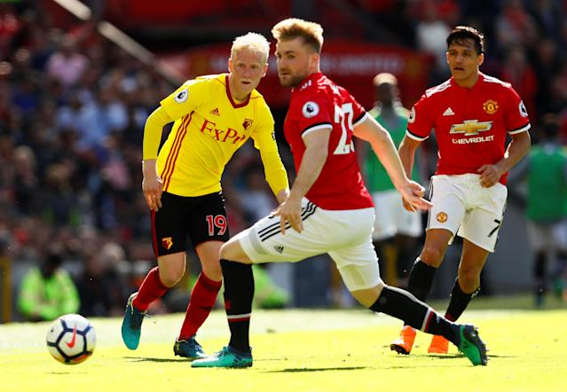 "Soccer Football - Premier League - Manchester United vs Watford - Old Trafford, Manchester, Britain - May 13, 2018 Manchester United's Luke Shaw and Alexis Sanchez in action with Watford's Will Hughes Action Images via Reuters/Jason Cairnduff EDITORIAL USE ONLY. No use with unauthorized audio, video, data, fixture lists, club/league logos or ""live"" services. Online in-match use limited to 75 images, no video emulation. No use in betting, games or single club/league/player publications. Please contact your account representative for further details."