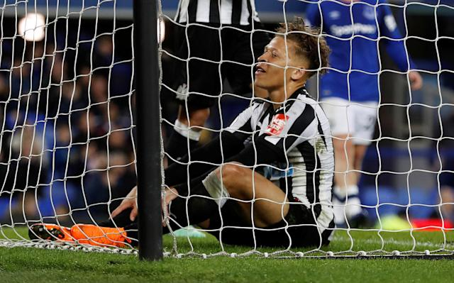 "Soccer Football - Premier League - Everton v Newcastle United - Goodison Park, Liverpool, Britain - April 23, 2018 Newcastle United's Dwight Gayle reacts Action Images via Reuters/Lee Smith EDITORIAL USE ONLY. No use with unauthorized audio, video, data, fixture lists, club/league logos or ""live"" services. Online in-match use limited to 75 images, no video emulation. No use in betting, games or single club/league/player publications. Please contact your account representative for further details."