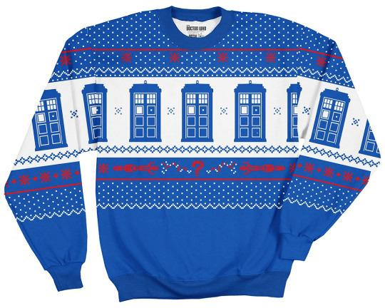 """<p>The weather outside may be frightful, but this snuggly fleece will keep you warm and delightful. And the delight factor is only increased by the TARDIS-themed print. Don't blink, but this sweater is also available in a """"Weeping Angels"""" version.<b><a href=""""http://www.thinkgeek.com/product/iook/"""">ThinkGeek</a>, $49.99</b></p><p><i>(Credit: <i>BBC</i>)</i></p>"""