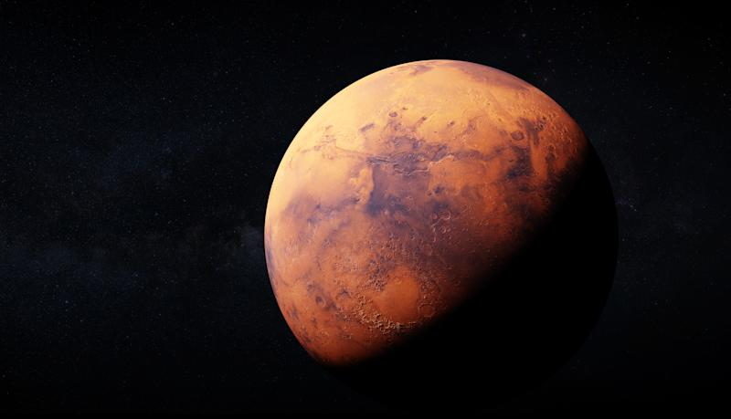 Ultra realisic 3d rendering of Mars and Milky way in the backround. Image uses large 46k textures for detailed appereance of the planet surface. Elements of this image furnished by NASA.
