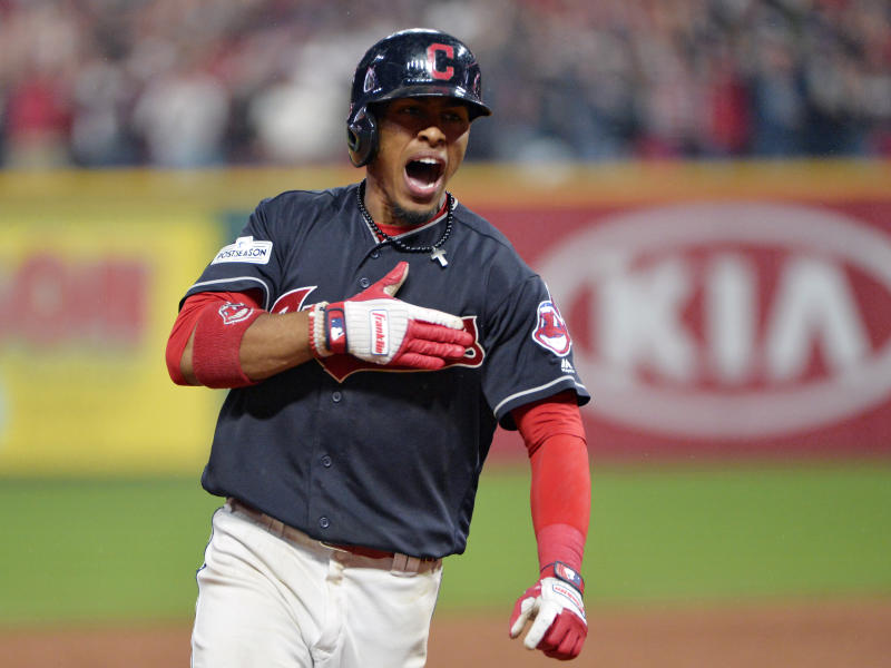 Francisco Lindor celebrates after hitting a grand slam in the sixth inning of ALDS Game 2. (AP)