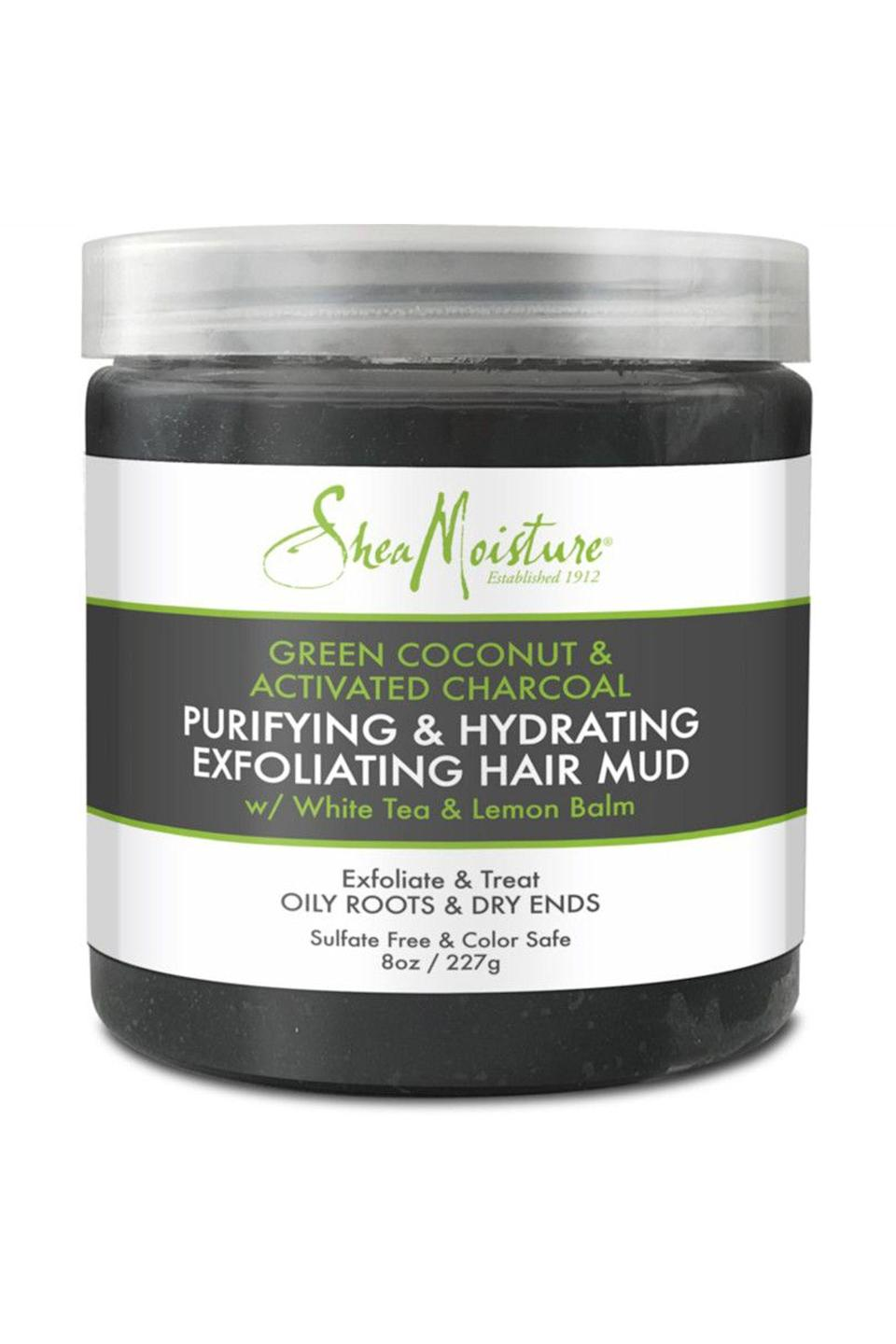 """<p><strong>SheaMoisture</strong></p><p>ulta.com</p><p><strong>$100.00</strong></p><p><a href=""""https://go.redirectingat.com?id=74968X1596630&url=https%3A%2F%2Fwww.ulta.com%2Fgreen-coconut-activated-charcoal-exfoliating-hair-mud%3FproductId%3DxlsImpprod18671021&sref=https%3A%2F%2Fwww.cosmopolitan.com%2Fstyle-beauty%2Fbeauty%2Fg26114920%2Fbest-scalp-scrubs%2F"""" rel=""""nofollow noopener"""" target=""""_blank"""" data-ylk=""""slk:Shop Now"""" class=""""link rapid-noclick-resp"""">Shop Now</a></p><p>The charcoal in this scrub soaks up excess oil, while the added <strong>white tea and green coconut work to hydrate and balance out your greasy scalp. </strong>The consistency is thick, but once you work it in with your wet hands and massage it into your roots, you'll get a lather that feels almost like a <a href=""""https://www.cosmopolitan.com/style-beauty/beauty/g19827523/best-shampoo-for-oily-greasy-hair/"""" rel=""""nofollow noopener"""" target=""""_blank"""" data-ylk=""""slk:shampoo"""" class=""""link rapid-noclick-resp"""">shampoo</a>.</p>"""